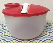 Tupperware Family Salad On the Go Set 3qt Red & White New