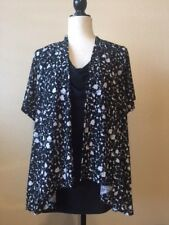 Isabella Rodriguez S/S Black White Layered Top w/attached Tank Size 1X EUC