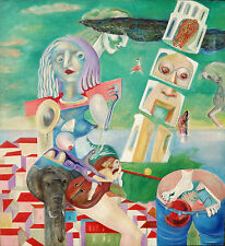 "Australian Oil painting on canvas ""Falling Tower"" by Yuri Stepanuk. 85 x 95 cm."