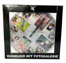 Wanduhr mit Fotogalerie, Quarzlaufwerk, 40 cm. Alu gebürstet.
