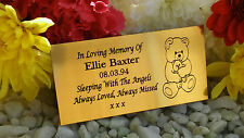PERSONALISED ENGRAVED MEMORIAL PLAQUE TEDDY BEAR GOLD 10X5CM BENCH PLAQUE (A05)