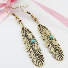 Boho Chic Antique Gold Turquoise Feather Charm Hook Earrings 60mm