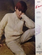 "Emu Vintage Children's Aran Sweater Knitting Pattern 6253 - 24-34"" Chest"