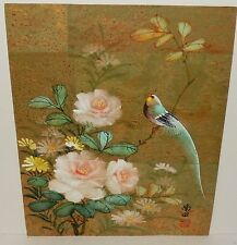 Japanese Floral Green Bird Original Watercolor Painting