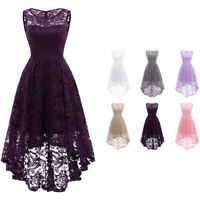 Vintage Women Sleeveless High Low Lace Dress Evening Cocktail Bridesmaid Dresses
