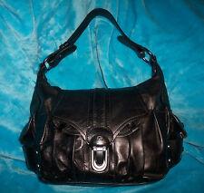 FRANCESCO BIASIA Black Leather Hobo Shoulder Bag - MADE IN ITALY