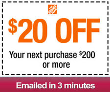 One 1x Home Depot $20 OFF $200Coupon-INSTORE ONLY -Fast-Delivery-