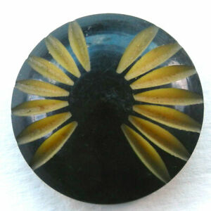 """Large Vintage Carved Celluloid Button Black and Tan 1-3/8"""""""