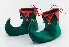 Adult Green & Red Xmas Boots Santa Helper Elf Pixie Christmas Deluxe Shoes