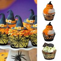 12Pcs/Lot Halloween Spider Cake Topper Cupcake Wrappers Paper Favor Decor Party