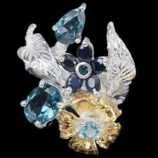 GENUINE LONDON-SKY BLUE TOPAZ & SAPPHIRE STERLING 925 SILVER FLOWER RING 7.25
