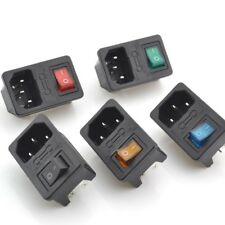 1/2/3/5/10 Male Power Socket Fused Rocker Switch IEC320 C14 Inlet Colours New
