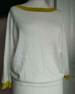Gorgeous Boden Gloucester Cotton Jumper Size L Ivory Lime Green Trim Brand New