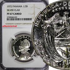 Panama Silver Glad Proof 1972 1/2 Balboa NGC PF67 CAMEO Mint-13,000 KM12a.1