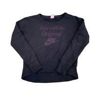 Vintage NIKE Women Sweatshirt Small Black Run With The Original Graphic Pullover