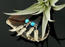 Vtg Sterling Silver Turquoise Navajo Feather Dangle Earrings