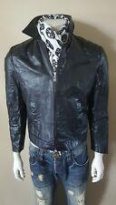 Slim Leather Black Vintage Bomber Motorcycle Biker Jacket Sm. 36 38 48Eu Hipster