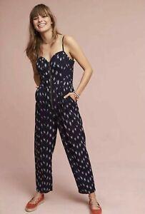 Elevenses Anthropologie Womens Blue Ikat Zip Front Jumpsuit Size 8