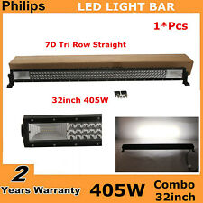 7D Tri-Row 32inch 405W LED Light Bar Flood+Spot Combo Offroad For Jeep Ford 180W
