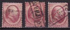 1864 Koning Willem III 10 cent rood NVPH 5 gestempeld 3 stuks