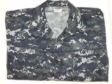 New NWOT US Navy Working Shirt Uniform NWU Blue Digital Camo Medium Regular BDU