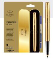 Parker Frontier Gold GT Roller Ball Pen RB Rollerball Trim Brand New in Box Blue