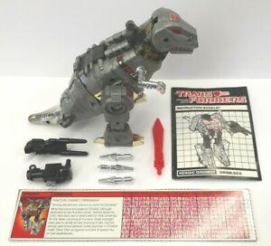 GRIMLOCK; 1985 Hasbro; G1 Vintage Transformers; COMPLETE w/tech & manual Dinobot