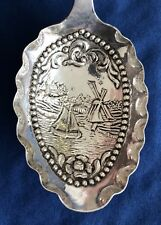 Tea Caddy Spoon Dutch Import Silver Windmill Sailboat Samuel Boyce Landeck