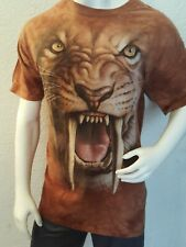 THE MOUNTAIN TEE, SABER TOOTH LION, TIE DYED BROWNS, MEN'S SIZE 2XL