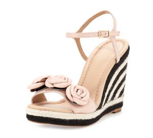 Kate Spade Jill Rosette Women's Pale Pink Leather Wedge Sandal Sz 11M 4701