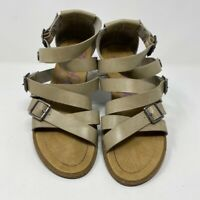 Blowfish Womens Strappy Sandals Brown Adjustable Flat Heel Buckle 9.5 EU 40.5 M