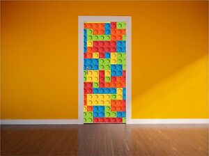 Colourful Bricks Kids Door Wrap Print Full Colour Wall Art Sticker Transfer P1B