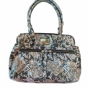 Marc Fisher Purse Handbag Double Handle Faux Snakeskin Brown Black Gold Hardware