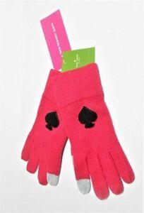 NWT Kate Spade New York Tech Friendly Knit gloves Hot Pink w black spade $48