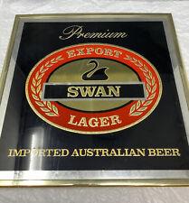 Vintage Premium Export Swan Lager Australian Mirror Beer Sign Original Bar Sign
