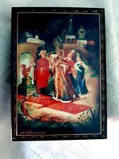 RUSSIAN LACQUER BOX  FEDOSKINO  LARGE RECTANGLE  CASKET FULL HINGE
