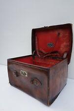 Vintage Leather Suitcase Hatbox with initials G.O.S. John Parson & Son Londen