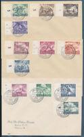 DR 1943, MiNr. 831-842, 831-42, drei Ersttagsbriefe, Mi. 300,-