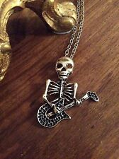 FREE GIFT BAG Skeleton Guitar Necklace Chain Punk Gothic Music Skull Jewellery