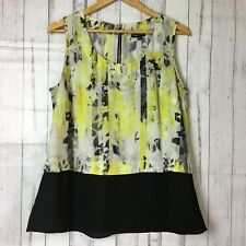 City Chic Bright Sheer Short Sleeve Yellow and Black Top Blouse Plus Sz XS/14/16