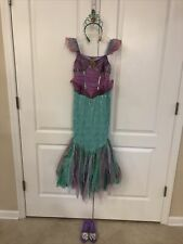 Disney Store Princess Ariel Little Mermaid Dress Up Sz 10 Costume W/ Shoes Tiara