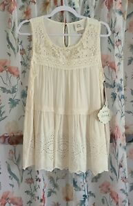 NWT Knox Rose Ivory Crochet Embroidered Sleeveless Blouse Size: XL