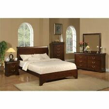 Alpine Furniture West Haven Queen Wood Sleigh Bed in Cappuccino (Brown)