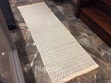 GREY CREAM CHEVRON Handmade Cotton REVERSIBLE Washable RUG RUNNER 70x200cm 40%OF