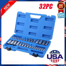 "Master Hex Bit Set | 32pc SAE & Metric Socket Set Standard Allen 1/4"" 3/8"" 1/2"""