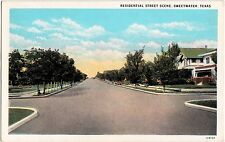 Old SWEETWATER Texas Tx Postcard RESIDENTIAL STreet Scene Homes