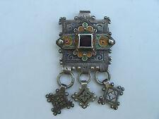 Antique Berber Morocco 900 Coin Silver Niello Enamel Pin Tribal Africa Pendant