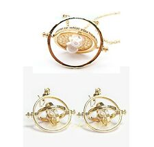 New  Harry Potter Rotating Hermione Time-Turner Necklace +Earings Pendant