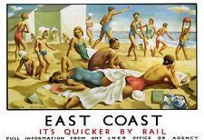 Art Ad East Coast Beach LNER Train Rail Travel  Poster Print