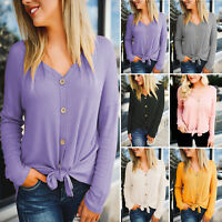 Womens Knit Shirt Long Sleeve Button Up Front Tie Up V Neck Casual Tops Blouse